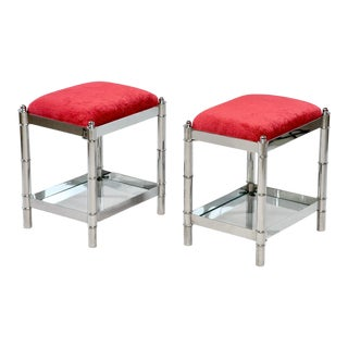 Pair of Small Nickel Plated Italian Upholstered Stools For Sale