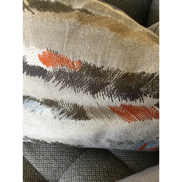 Donghia Donghia Rubelli Silver Copper Tiger Striped Wave Velvet Lumbar Pillows - A Pair For Sale - Image 4 of 6