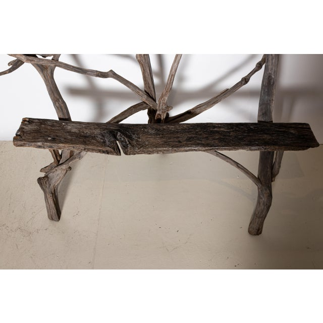 English Country Reclaimed Driftwood Garden Bench For Sale - Image 9 of 11