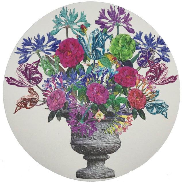 "Contemporary Nicolette Mayer Pistils Large Bouquet 16"" Round Pebble Placemats, Set of 4 For Sale - Image 3 of 3"