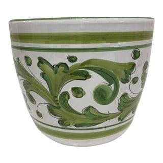 Vintage Terracotta Hand Painted Cache Pot