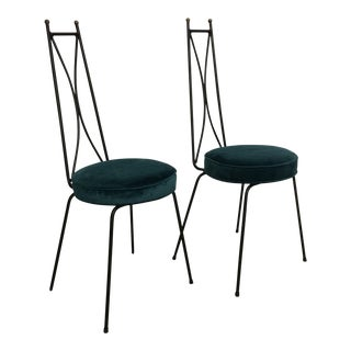 Peacock Mid-Century Tall Back Brass & Iron Chairs - A Pair