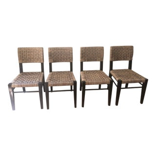 Palacek Side Chairs with Woven Seagrass Back and Seat - Set of 4 For Sale