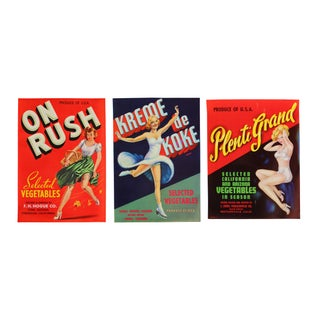 Vintage Original Pin-Up Labels - Set of 3