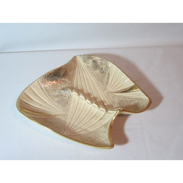 Mid Century Beige and Gold Ashtray - Image 4 of 7