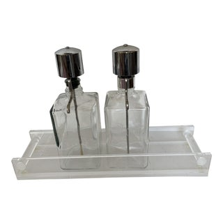 Vintage Mid-Century Bar Pump Decanters Etched Bourbon and Rum With Lucite Tray For Sale
