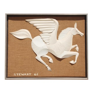 Mid-Century Modern Relief Paper Cut of Pegasus Flying For Sale