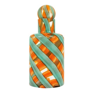 Fratelli Toso Green & Orange Decanter For Sale