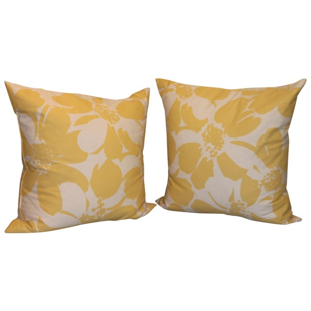 Custom Yellow & White Floral Pillows - A Pair - Image 1 of 4