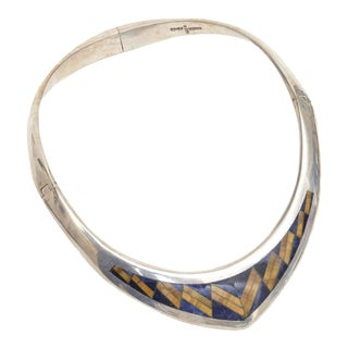 Sterling Silver, Lapis and Tiger's Eye V Collar Necklace For Sale