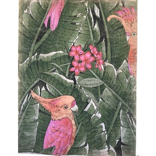 """Hand Painted French Panel """"Pink Cacatoes Bird"""""""