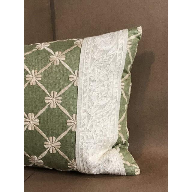 Transitional Transitional Green Pillow W/ Natural Embroidered Flower Lattice For Sale - Image 3 of 11