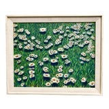 Image of Vintage 1970s Framed Painting of Daisies and Grasses For Sale