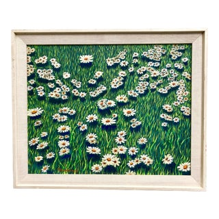 Vintage 1970s Framed Painting of Daisies and Grasses For Sale