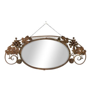 Antique Oscar Bach Style Iron Fruit Wall Mirror For Sale