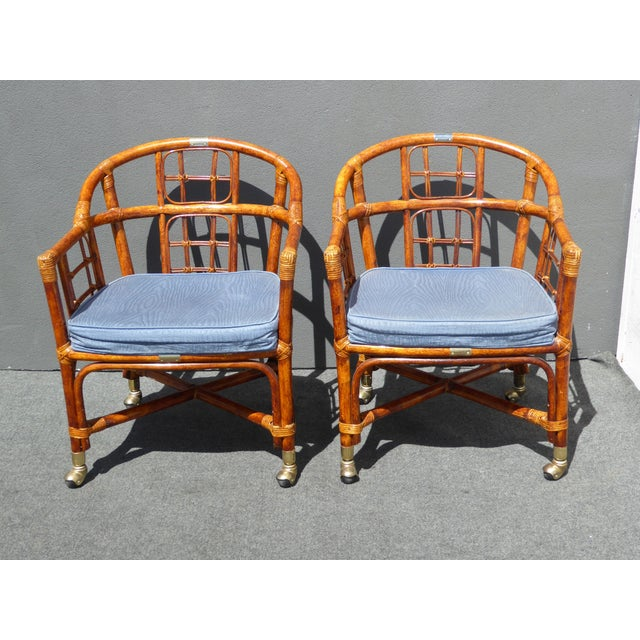 Mid-Century Modern Bamboo & Rattan Arm Chairs - 4 - Image 5 of 11