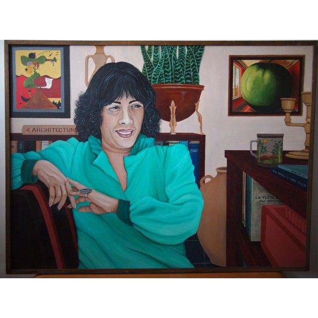 Original 1984 Arona Reiner Mid-Century Modern Postmodern Female Portrait Oil on Canvas Painting For Sale In Philadelphia - Image 6 of 6