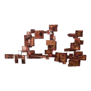 A Curtis Jere Style Abstract Brutalist Copper Wall Sculpture For Sale