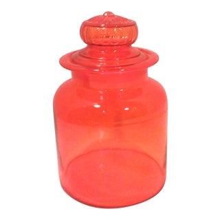 Mid-Century Orange Glass large Canister Lidded Jar