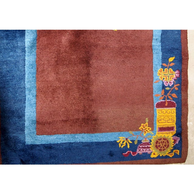 1920s Handmade Antique Art Deco Chinese Rug 3' X 4.11' For Sale - Image 4 of 13