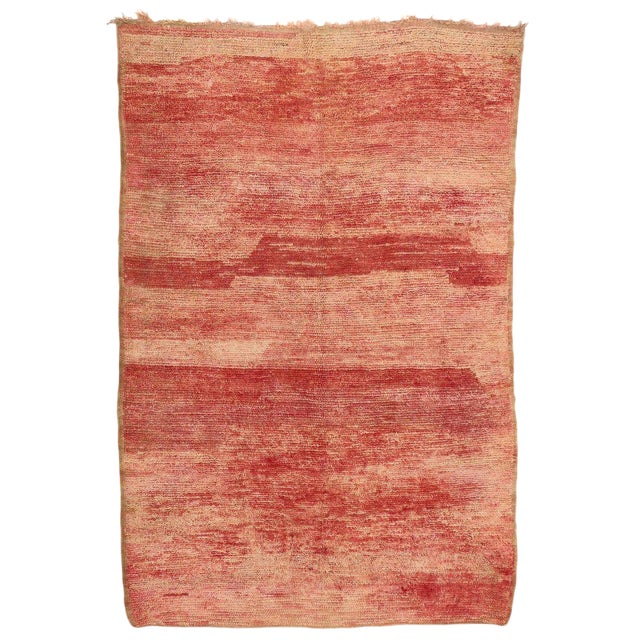 Vintage Berber Moroccan Rug with Sunset Colors For Sale