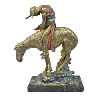 Austrian Cold Painted Bronze End of Trail Statue Sculpture After James Fraser For Sale
