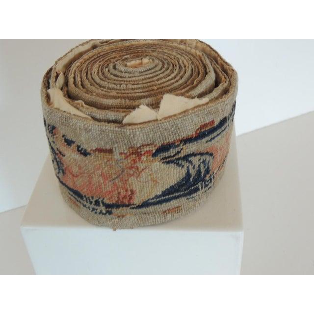 Regency Antique Blue and Orange Tapestry Decorative Trim For Sale - Image 3 of 7