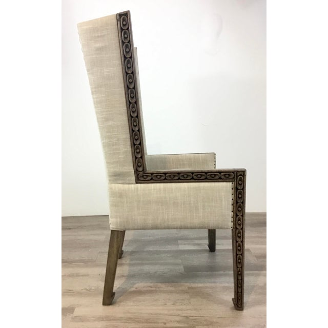 Transitional Carved Wood Linen Wingback Chair For Sale In Atlanta - Image 6 of 8