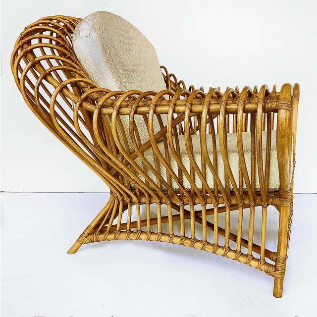 Franco Albini 1980s Franco Albini Rattan Chair and Ottoman Set For Sale - Image 4 of 12