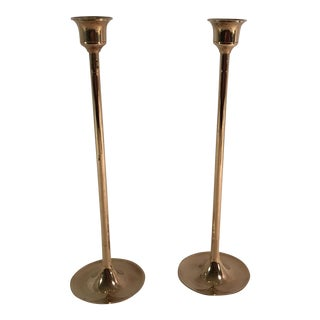 Minimal Brass Candle Holders - A Pair