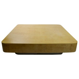 Massive Grasscloth Coffee Table on Bright Chrome Plinth Base After Springer For Sale