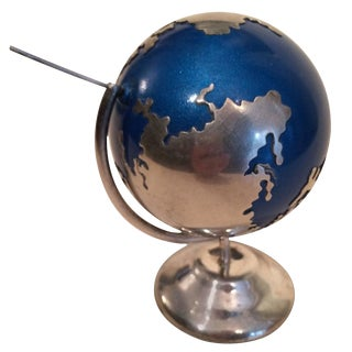 Sterling Silver Spinning Globe Desk Accessory For Sale