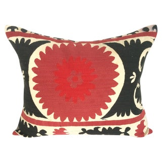 Black And Cabernet Vintage Suzani Pillow