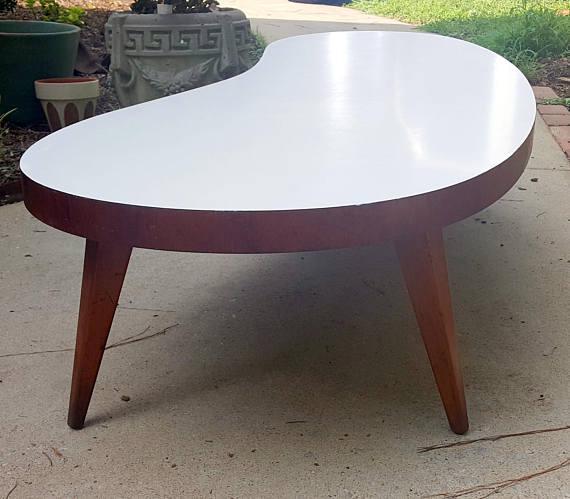 MidCentury Modern White Laminate Boomerang Shaped Coffee Table