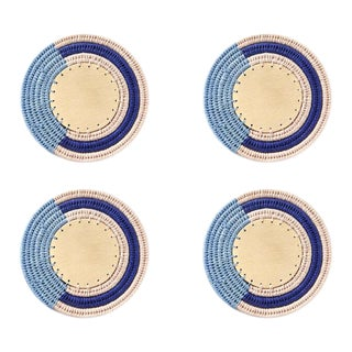 Round Stripe Coasters Denim/blush & Cobalt - Set of 4 For Sale
