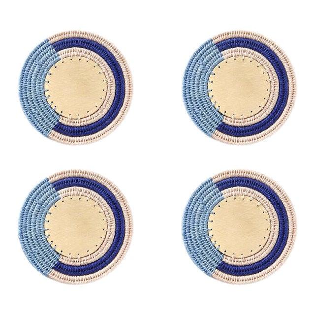 Round Stripe Coasters Denim/blush & Cobalt - Set of 4 For Sale