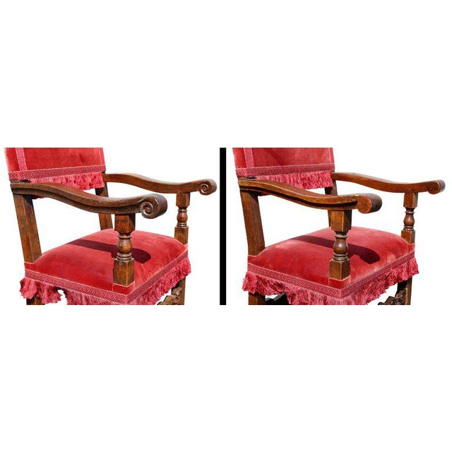 Baroque Assembled Set of Six Italian Baroque Walnut Dining Chairs For Sale - Image 3 of 12