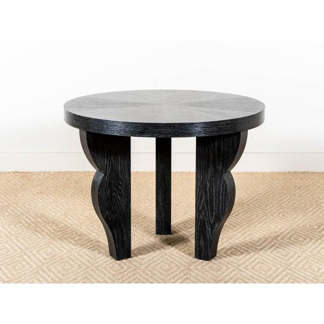 Round table with three legs Straight grain oak Cerused ebonized finish