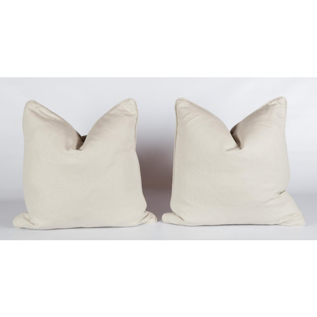 Stone Chenille & Linen Antelope Pillows - a Pair For Sale - Image 5 of 5