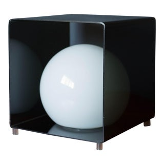 Vintage Lucite Globe Moonlight Lamp in Smoked Black Cube For Sale