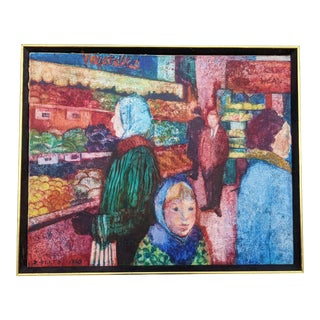"1968 ""NYC Market Scene"" Figurative Oil Painting, Framed For Sale"