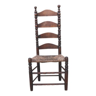 Early 18th Century New England Ladder Back Side Chair For Sale
