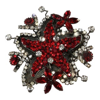 """Lawrence Vrba Huge 3.75"""" Red Starfish Brooch Pin For Sale"""