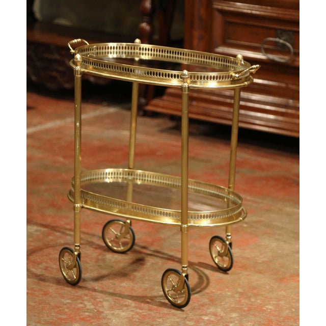Early 20th Century, French Oval Brass Dessert Table or Bar Cart on Wheels For Sale - Image 9 of 9