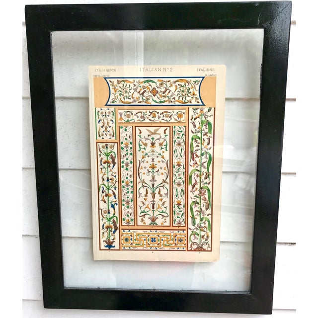 Italian print in glass frame. The print is from the 1800s.