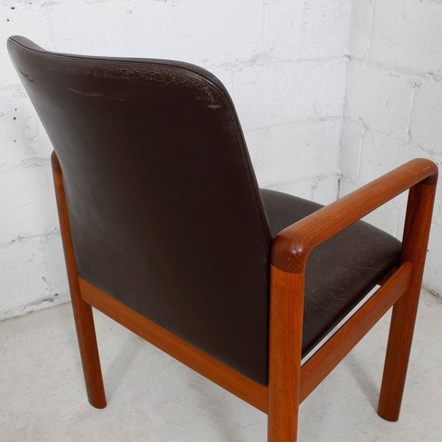 Danish Modern Teak & Distressed Leather Arm Chair For Sale In Washington DC - Image 6 of 7