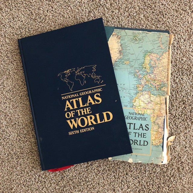Blue Vintage Atlas of the World Books - A Pair For Sale - Image 8 of 8