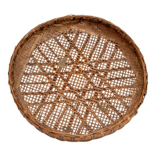 Large 19th C. Vintage Wicker Sifter Tray/Low Bowl For Sale