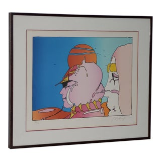 """Peter Max """"Talking With Karen"""" Color Lithograph S/N C.1983 For Sale"""