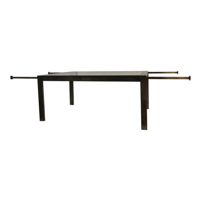 1960s John Stuart Brass Glass Extension Dining Table For Sale